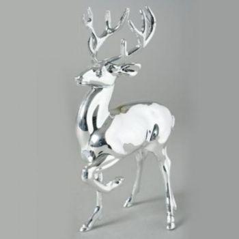 silberne hirsch figur silberner acryl hirsch stehend 19cm
