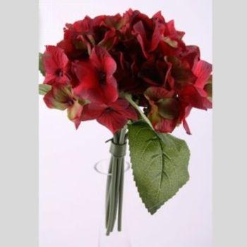 hortensien kunstblumen bund farben gr n und rot. Black Bedroom Furniture Sets. Home Design Ideas