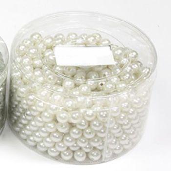 Kunststoff Perlen, Farbe Champagner, Perlen mit Loch in Runddose bei Shophaus 24