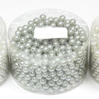 Kunststoffperlen Silber, Perlen mit Loch in Rund Dose bei Shophaus 24