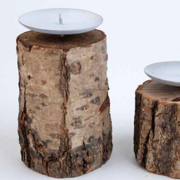 holzstamm kerzenst nder naturholz mit metall kerzenteller 15cm. Black Bedroom Furniture Sets. Home Design Ideas