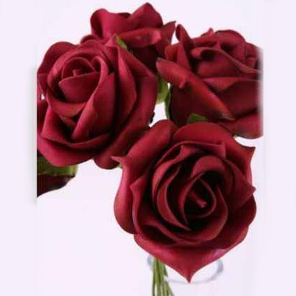 Deko Kunstblumen Rosen Schaumblüten Burgund 9cm
