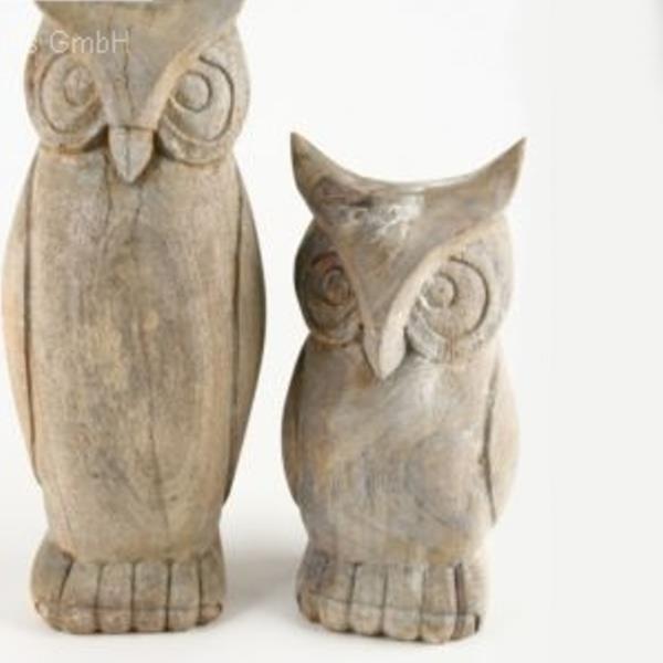 Voll Holz Eulen Figuren Eule Geschnitzt Zum Stellen 26cm