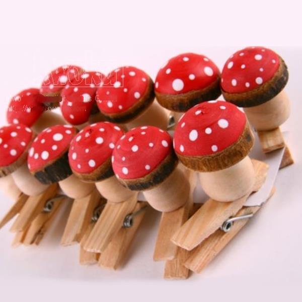 Holz Fliegenpilze Mit Holzklammer Deko Pilze 12 Stuck