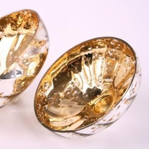 goldene schale f r teelichter glas schwimmschale 12 5cm. Black Bedroom Furniture Sets. Home Design Ideas