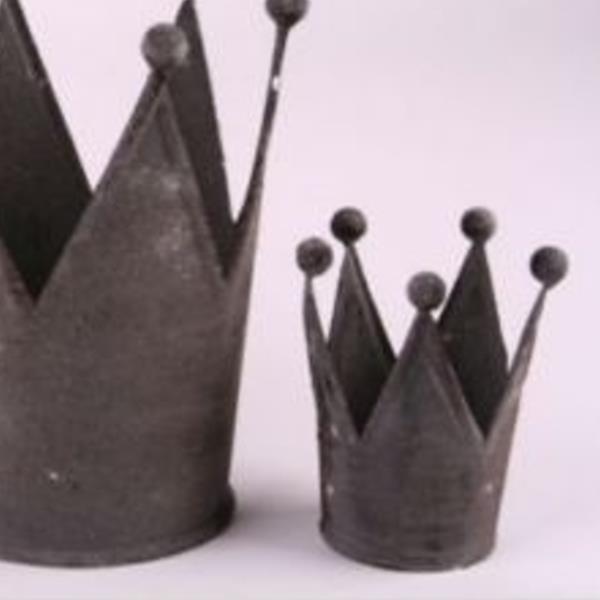kleine kronen aus metall, krone grau antikfinish, h 8,5cm,