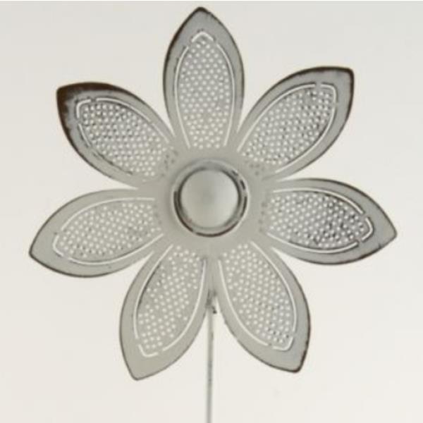 Blume Aus Blech, Deko Stecker Blüte Mit 2 Blätter, 3 Stück