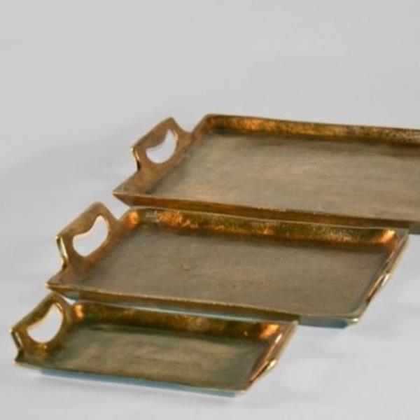 gold antikes tablett rechteckig aus metall guss antikfinish. Black Bedroom Furniture Sets. Home Design Ideas