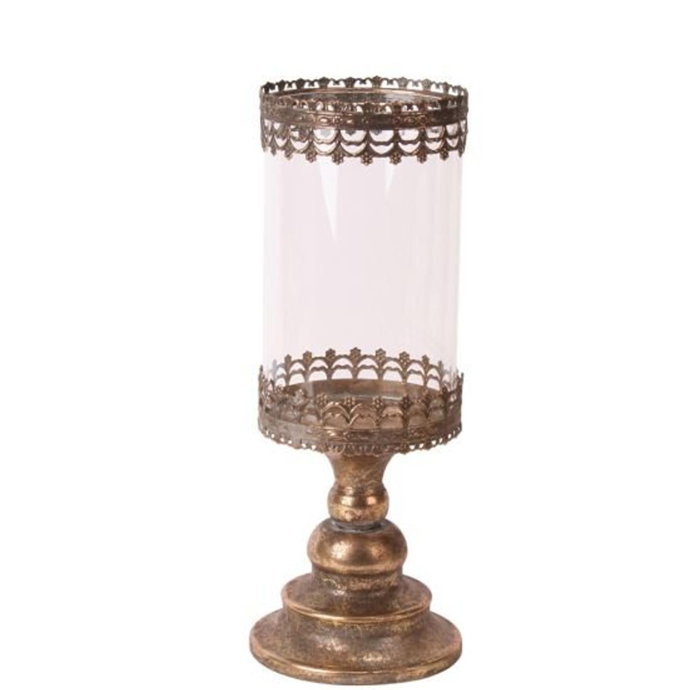 windlicht gold antik aus metall mit glaseinsatz. Black Bedroom Furniture Sets. Home Design Ideas