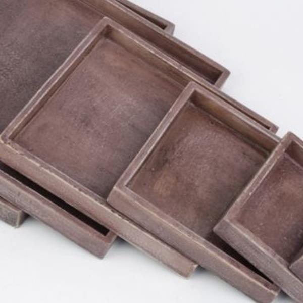 Braune Quadratische Tabletts Aus Holz 5 Grossen