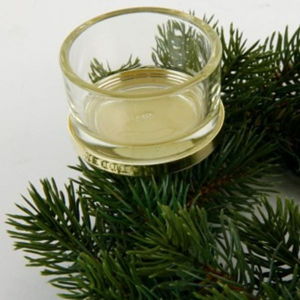 Teelichthalter gold mit Glas für Adventskränze.