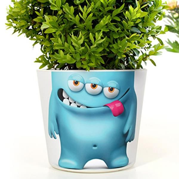Blumentopf fr hling bertopf mit gesicht blue berry joe for Blaue blumentopfe
