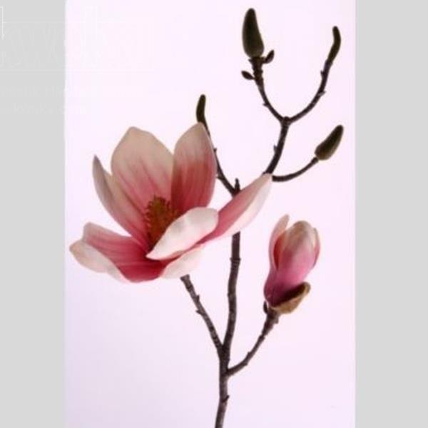 Seidenblumen Magnolienzweig, Deko Zweig rosa, 42cm