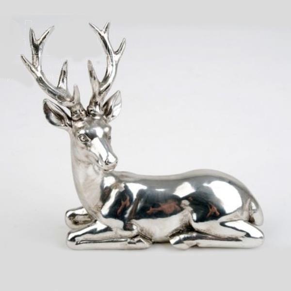 Sitzende Hirsch Figur Silber Antik 14 5cm
