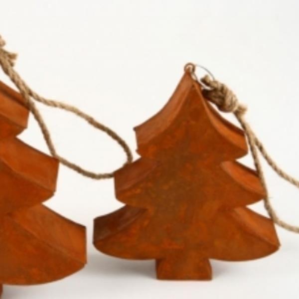 Weihnachtsb ume metall baum rost am strick 6 st ck - Deko baum metall weihnachten ...